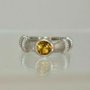 Judith Ripka Silver Citrine .925 Band Ring Size 5